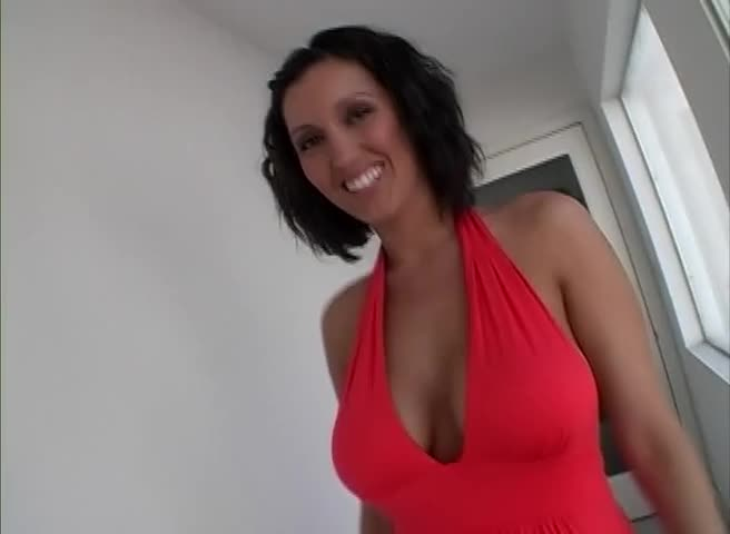 Dylan in a sexy red dress