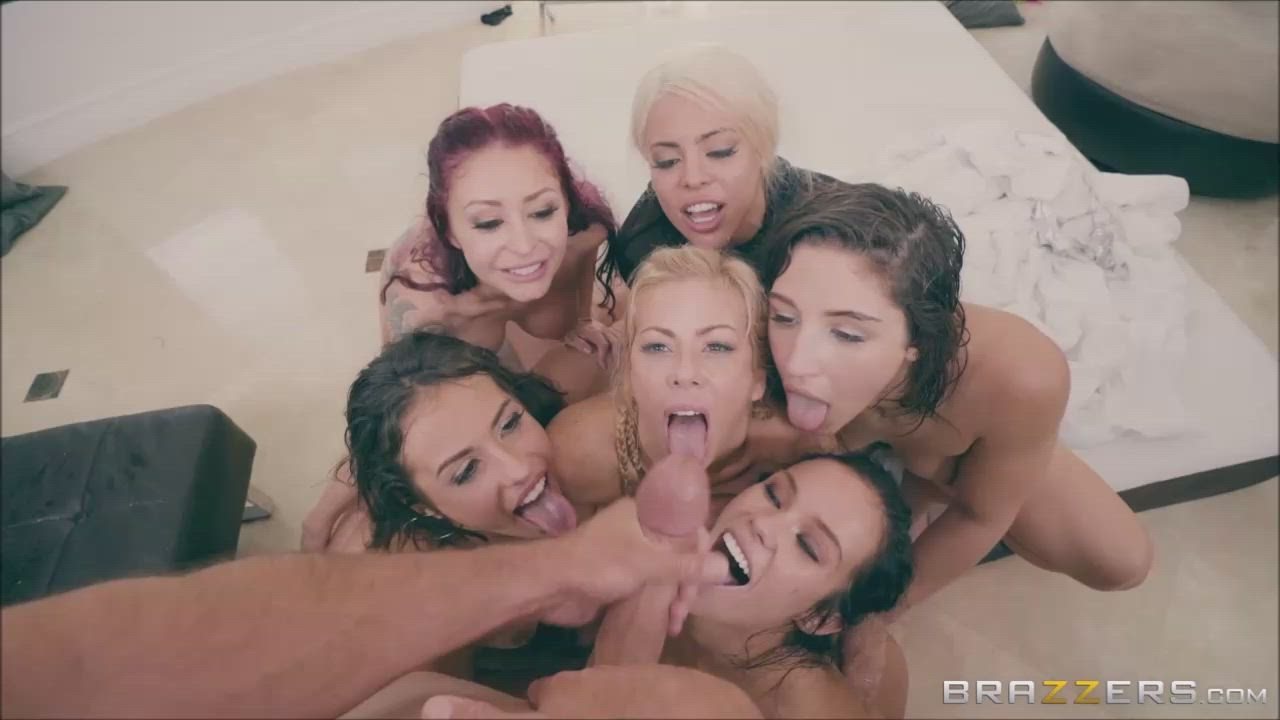 Big dick explodes twice over aces during a gangbang