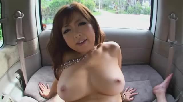 Busty Asian fucked inside a parked van