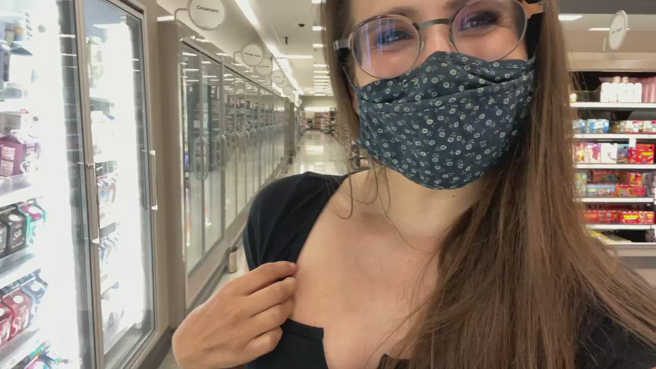 Taking off my panties & shoving them into my mouth under my mask at the store