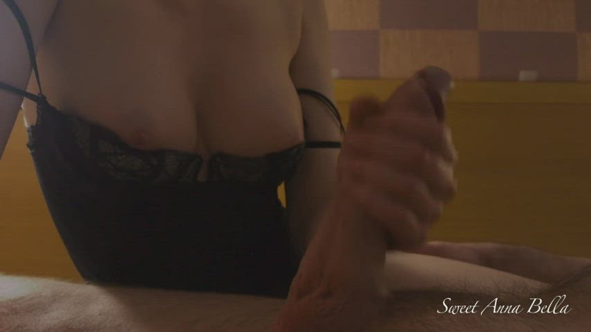 While I Jerk his Big Cock, he looks at my Perfect MILF Tits, it makes him Cum