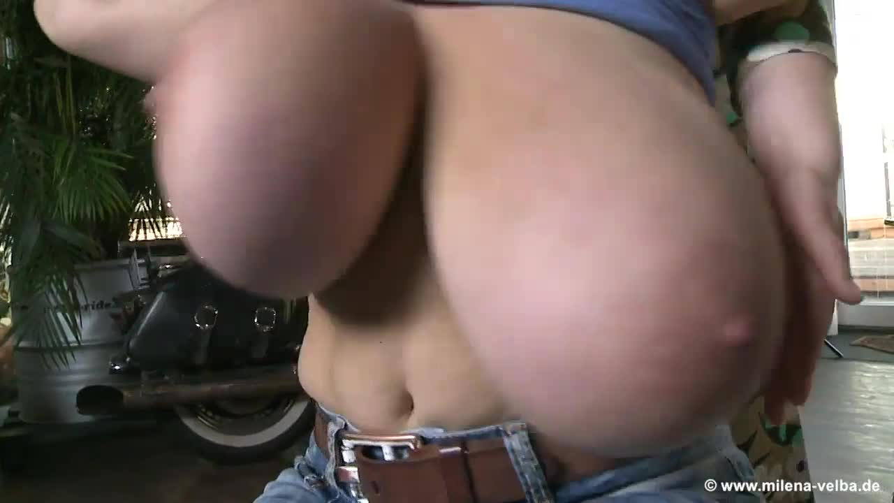 playing with her huge naturals
