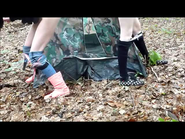 two Gals Pissing On a Tent