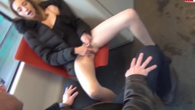 Ria gets on the bus and rips her pantyhose open so she can masturbate easier.