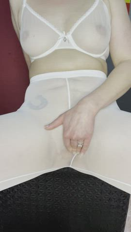 Squirting Inside My Sheer White Leggings While Fingering My Pussy