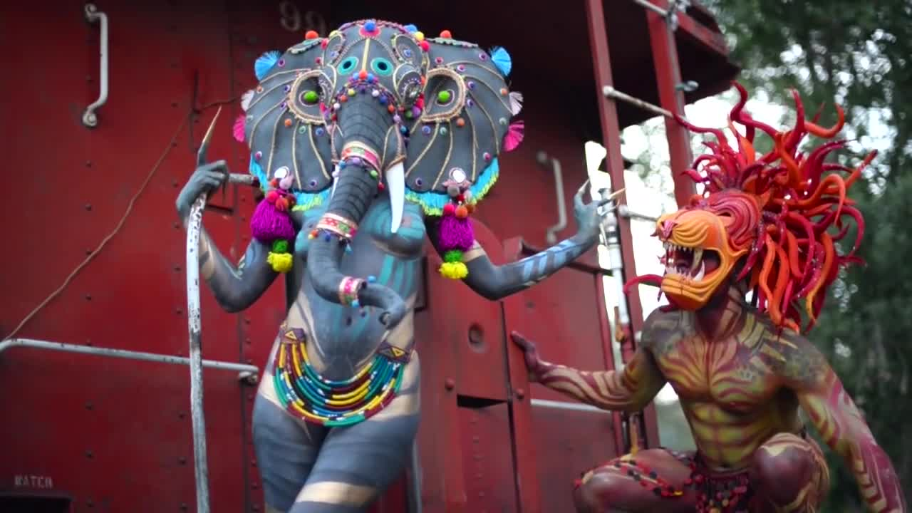 Paul Roustan, art, body, body paint, bodypaint, circus, paint, paul, photography, roustan, Running Away with the Circus GIFs