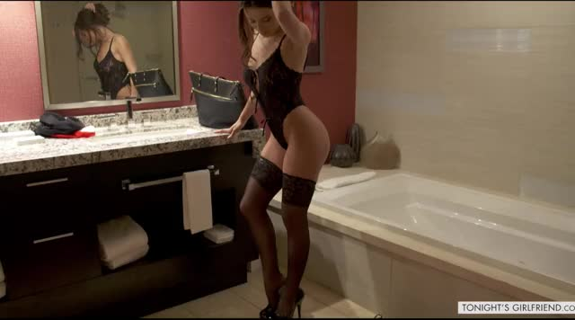 Lana in her stockings bent over