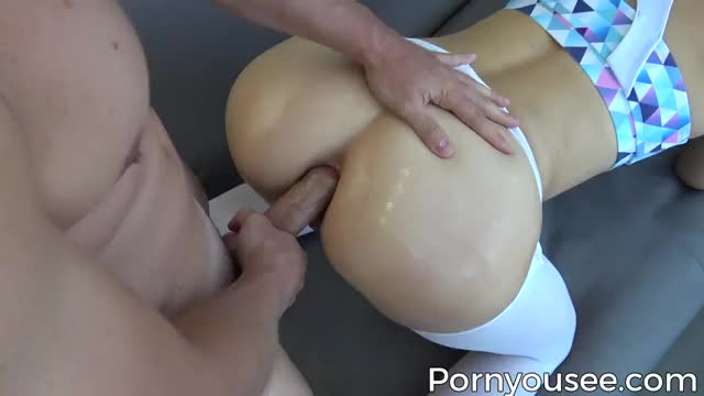 anal creampie in ripped yoga pants