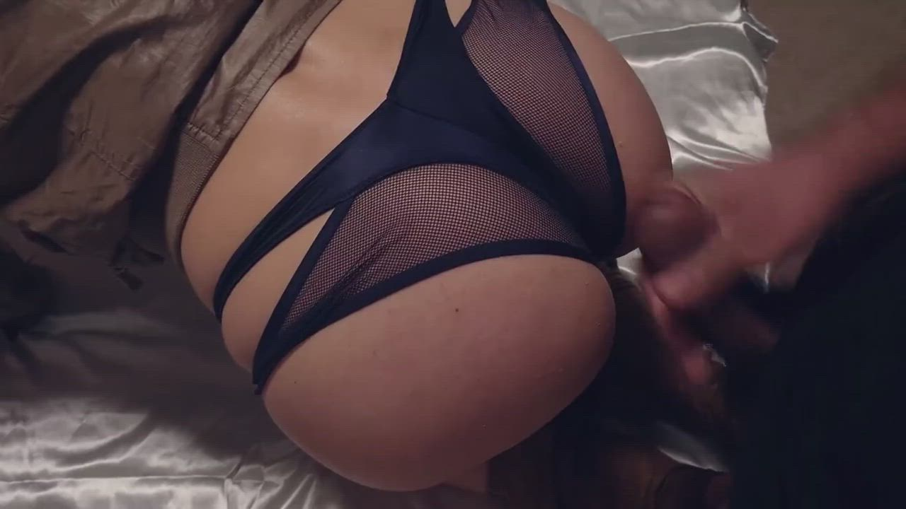 Cumming on lacy thong