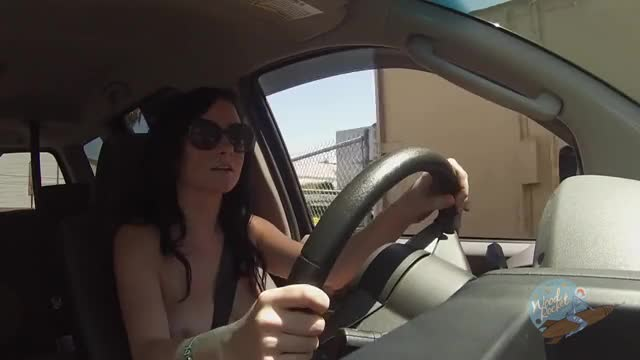 Topless drive through [GIF]