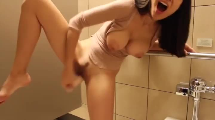 The girl was so excited that she finished in a public toilet