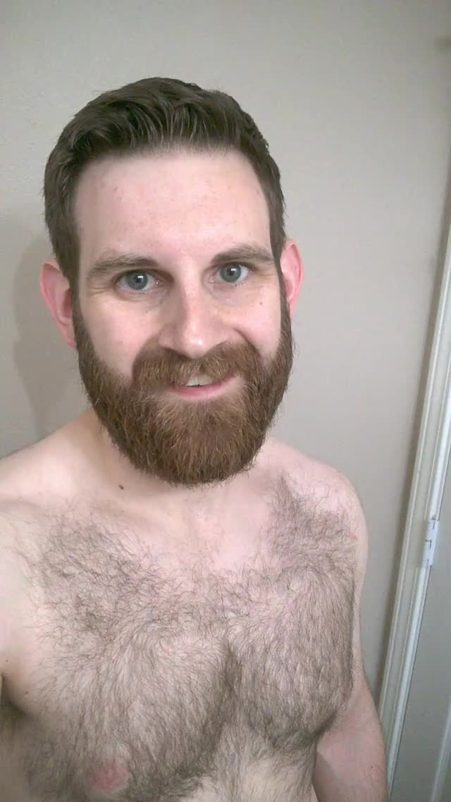cleaned up beard and shaggy chest