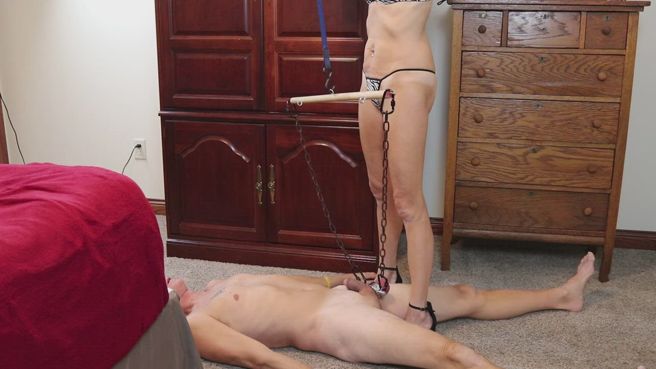 Slave Hubby Hung by His Balls with a Ratchet Hoist - Taunted and Tortured - Left to Suffer while I go Fuck my Bull Boyfriend - Is shit gettin' real yet? LOL -