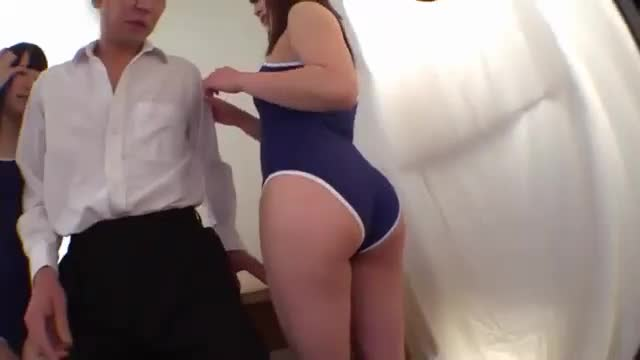 Two Tight Blue Swimsuits