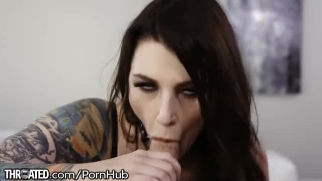 Tattooed girl Ivy Lebelle Deepthroating