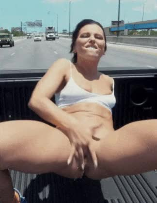 adriana chechik squirting in a moving truck couch!