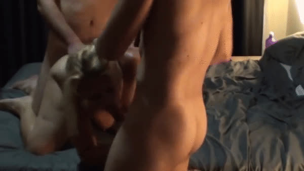 Sexy Blonde MILF Shared By Two Guys - With Cumshot