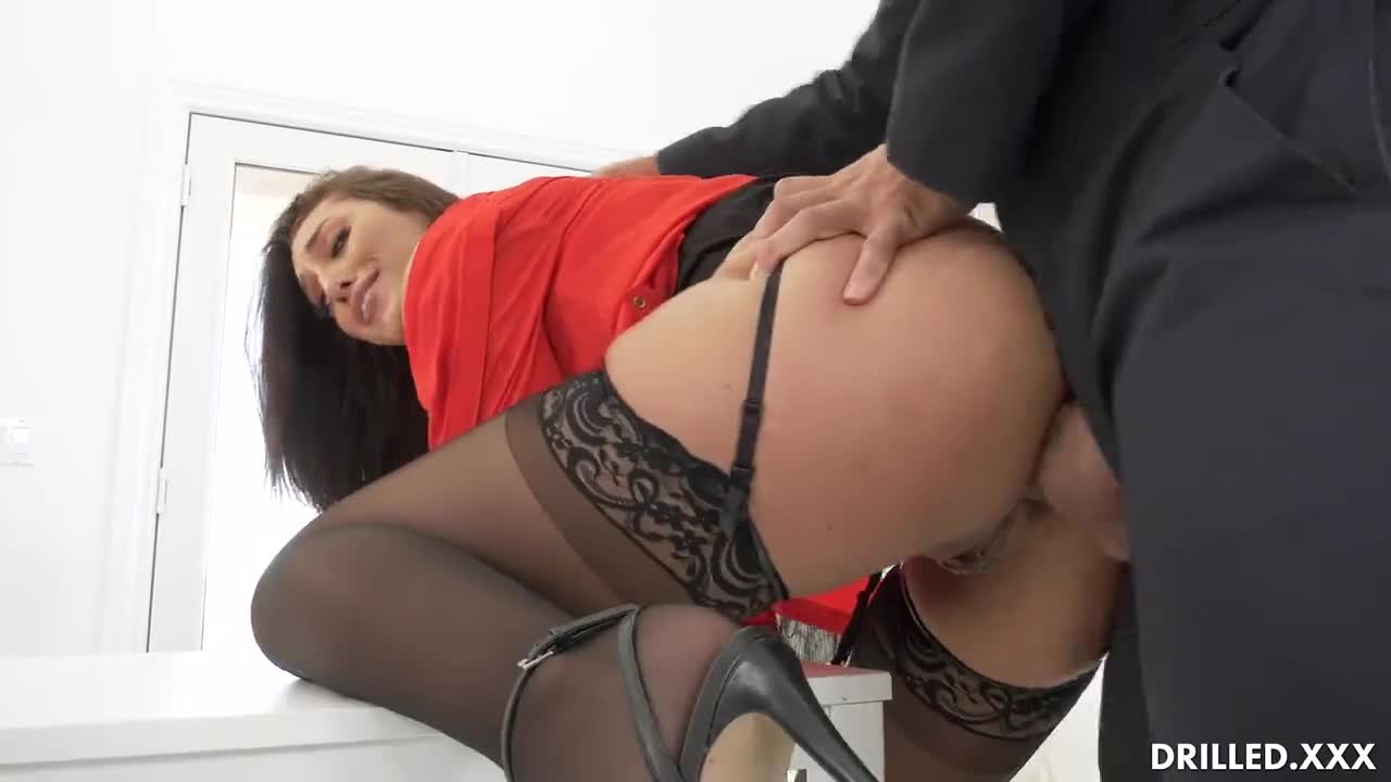Horny Secretary Chokes On The Janitors Cock Before He Drills Her Round Ass