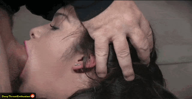 Submissive girl love to be throated restrained