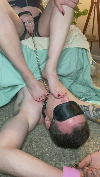 Can't finish a pedicure without letting my sub have a taste
