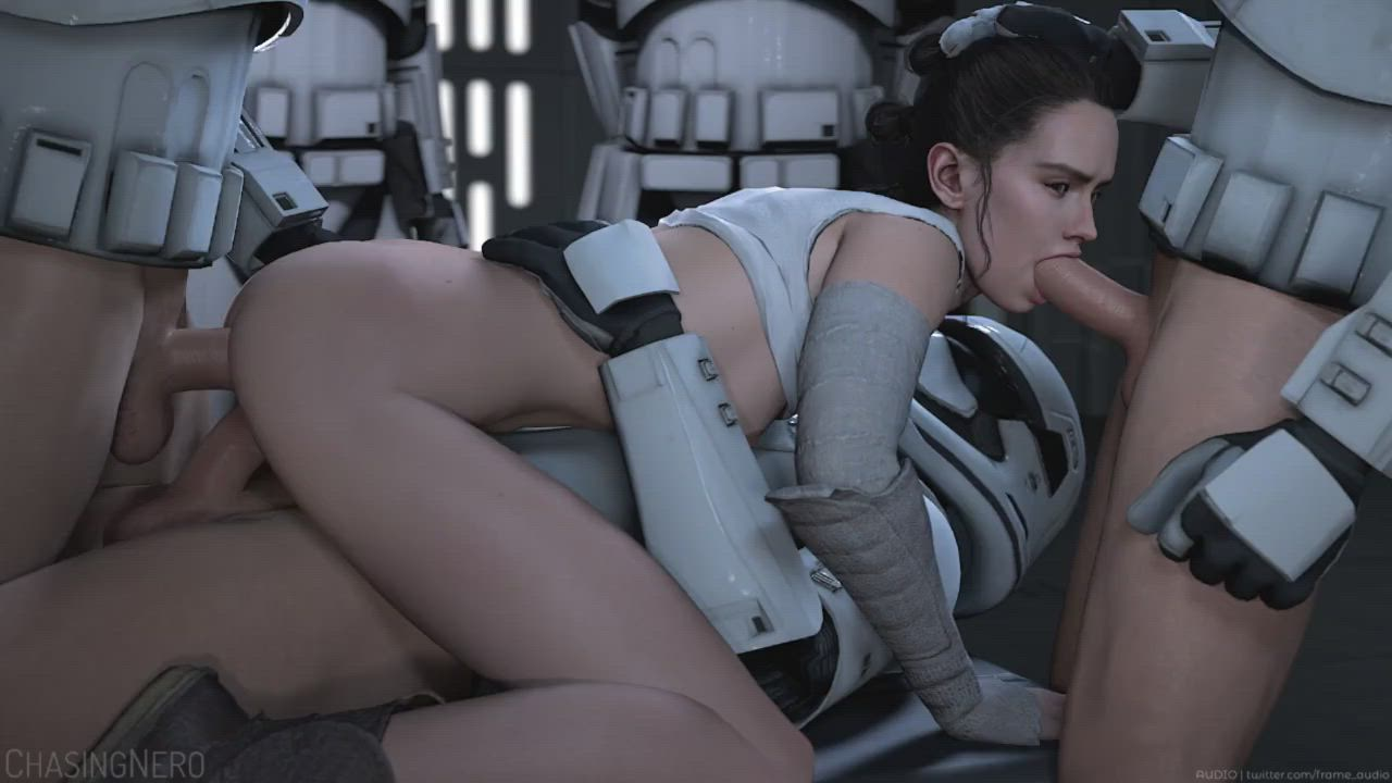 Rey is trying to negotiate for her release, but the stormtroopers can't quite hear what she's saying on account of her mouth being full. (ChasingNero) (Frame Audio) [Star_Wars]