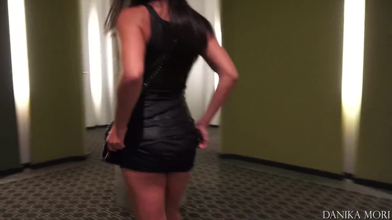 Flash with sexy outfit around the hotel!