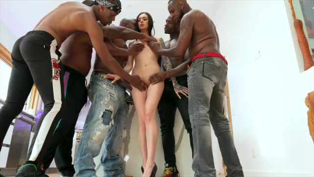marley gets group-fucked by five ebony males.