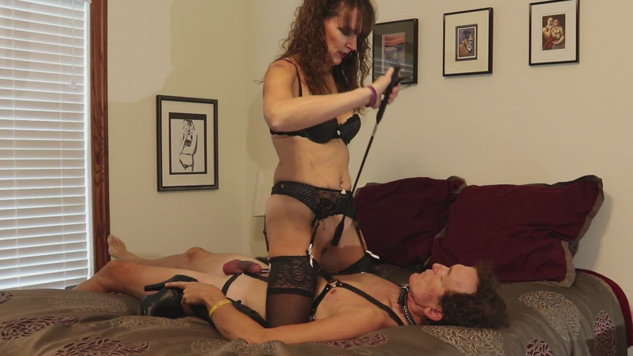 I came home with my pussy and ass full of cum and smothered my slave while he ate it all - I don't normally show this much of our faces here, so you little sissies should be grateful! LOL -