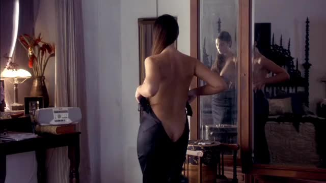 monica Bellucci getting dressed in