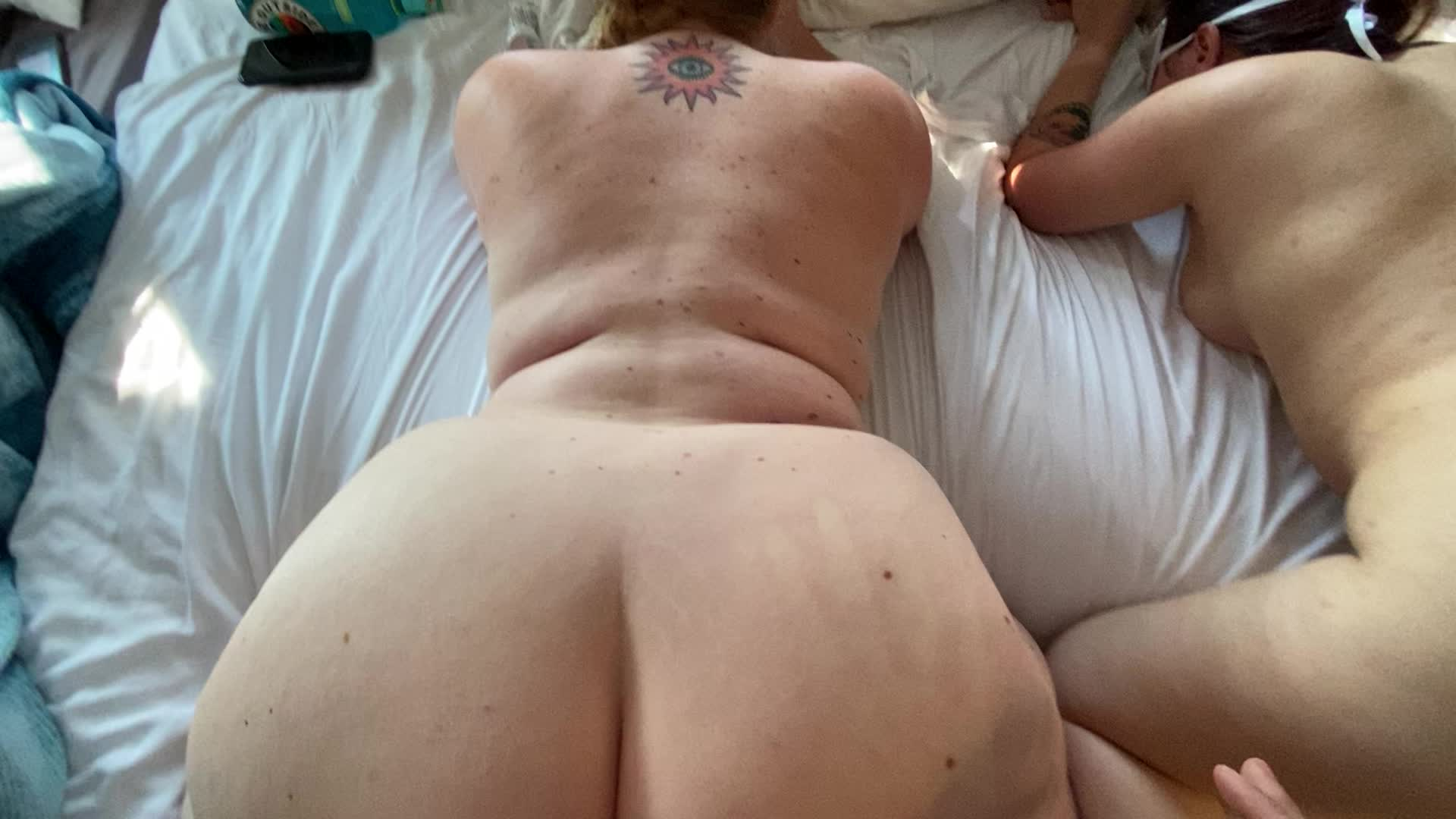 Fucking this thick booty while rubbing her friends pussy!