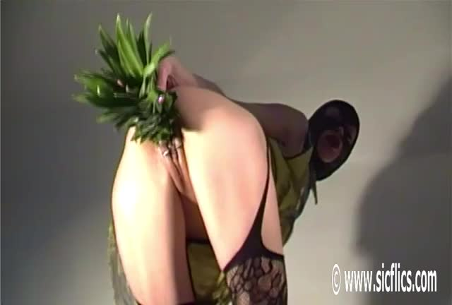 pumping Her Loose Cunt With a Huge Pineapple!