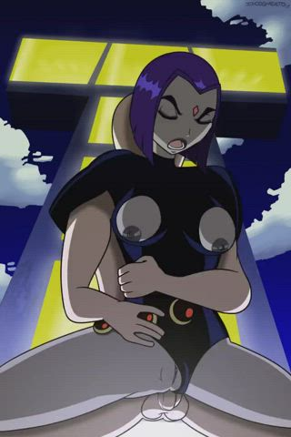 Raven being railed outside Titans Tower (incogneato)