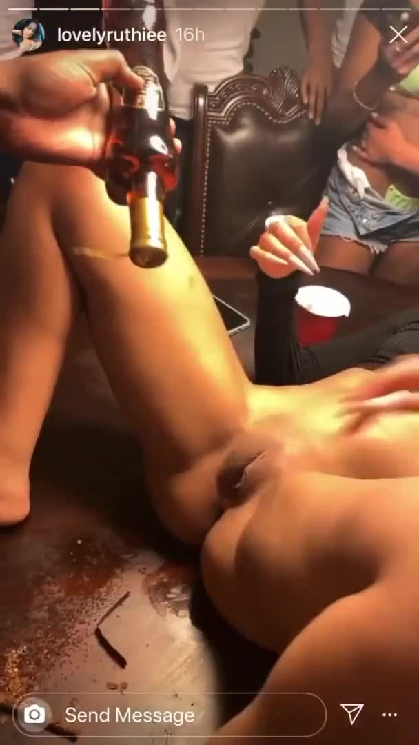She's Trying Hard To Put A Bottle in Her Pussy for $10K Challenge