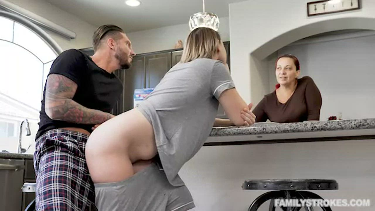 Stepdad fucking me in front of mom behind the table...